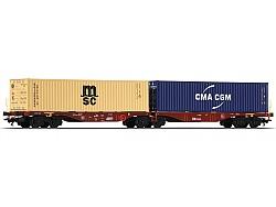 Plošinový vůz řady Sggrss 80 s 2 kontejnery, ČD Cargo