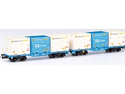 InnoWaggon vůz s nákladem 6 kontainerů 7 Sev.en,CD-Cargo