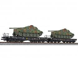 dvojice plošinových vozů SSyms DRB II.epocha naložené tanky set 2