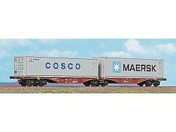 dvojitý kontejnerový vůz ČD Cargo Sggmrss + COSCO + MAERSK