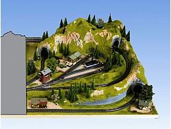 Doplňková krajinka pravá se skrytým nádražím 100 x 120cm